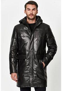 Утепленная кожаная куртка с капюшоном Jorg Weber