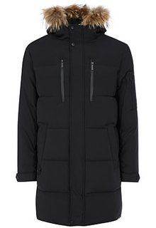 Стеганая куртка с отделкой мехом енота Urban Fashion for men