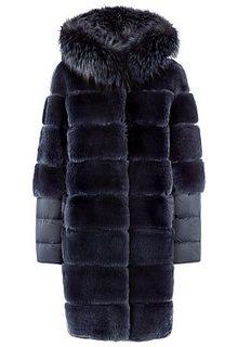 Шуба из меха кролика и текстиля с отделкой мехом чернобурки Virtuale Fur Collection