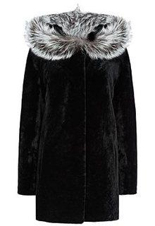 Шуба из овчины с отделкой мехом чернобурки Снежная Королева