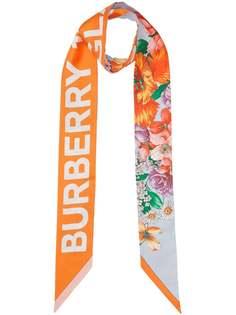Burberry узкий шарф с логотипом и цветочным принтом