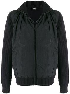 BOSS куртка на молнии со вставкой в рубчик