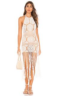 Миди платье с вышивкой крошё amy - MAJORELLE