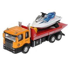 Игрушечная машинка Технопарк Автотранспортер (красная кабина с лодкой) 15.5 см