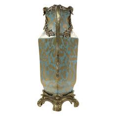 Ваза Glasar фарфоровая с бронзовыми ручками и на бронзовом основании 30x19x42см ГЛАСАР