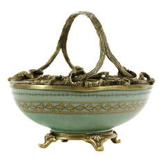 Чаша Glasar фарфоровоая с бронзовой ручкой 20,32см ГЛАСАР