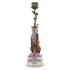 Подсвечник Glasar с фарфоровым леопардом и бронзовой веткой 39,37см ГЛАСАР
