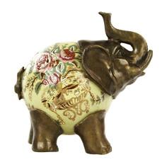 """Фигурка фарфоровая Glasar """"Слон"""" с бронзовыми ногами и хоботом 13,97см ГЛАСАР"""