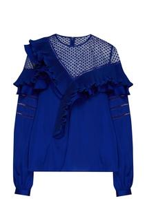 Синяя блуза с воланами Self Portrait