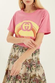 Розовая футболка с принтом Gucci