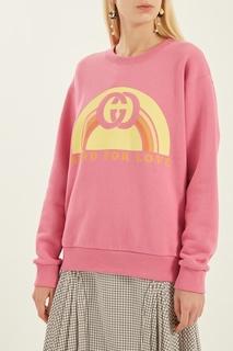 Розовый свитшот с надписью Gucci