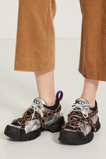 Серебристые кроссовки Flashtrek со съемным декором Gucci