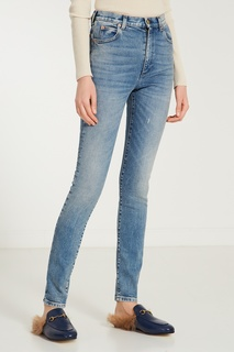 Голубые джинсы скинни с патчами Gucci
