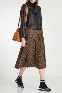 Куртка косого кроя с отделкой на рукавах Fendi