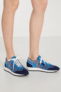 Сине-голубые текстильные кроссовки Prada