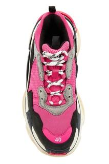 Серо-черно-розовые кроссовки Triple S Balenciaga