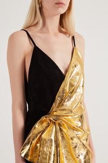 Платье из замши и металлизированной кожи Gucci