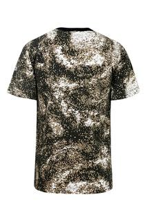 Серо-бежевая футболка с аппликацией Stone Island Kids