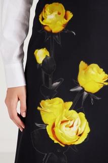 Черная юбка-миди с цветочным рисунком Prada