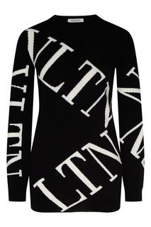Черный шерстяной джемпер с логотипом Valentino