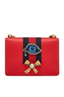 Кожаная сумка с кристаллами Gucci