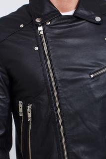 Черная кожаная куртка на молнии Les Hommes Urban