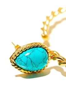 Позолоченные серьги-кольца с бирюзой Sylvia Toledano