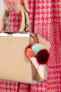 Подвеска-рожок из розовой кожи и меха Fendi