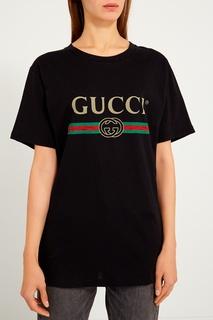 Черная футболка с логотипом Gucci