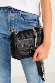 Черная сумка с бахромой Fendi