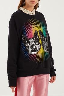 Черный свитшот с принтом и аппликацией Gucci