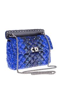 Синяя сумка Garavani Rockstud Spike с пайетками Valentino