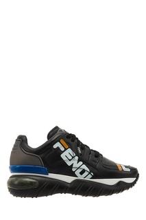 Черные кроссовки с яркими акцентами и логотипом Fendi