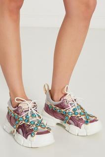 Розовые кроссовки Flashtrek со съемными кристаллами Gucci