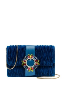 Синяя бархатная сумка с цветными кристаллами Miu Miu