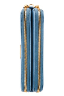 Голубая кожаная мини-сумка на плечо Prada