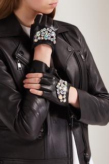 Кожаные митенки с кристаллами Karl Lagerfeld