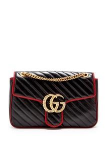 Черная стеганая сумка с бордовой отделкой GG Marmont Gucci