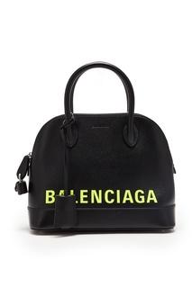 Черная сумка с неоново-желтым логотипом Ville Balenciaga