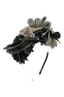 Черный хлопковый ободок с кружевом и пайетками Antonio Marras