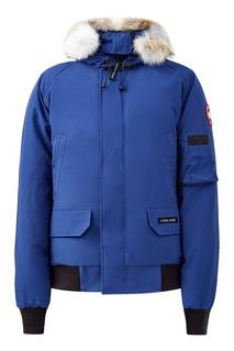 Синяя куртка со вставками-резинками Canada Goose