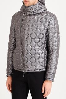 Серая кожаная куртка Emporio Armani