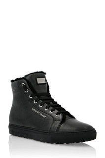 Черные кожаные кеды Philipp Plein