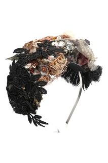Черно-розовый ободок с декором стразами и кружевом Antonio Marras