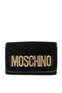 Бархатный клатч с логотипом Moschino