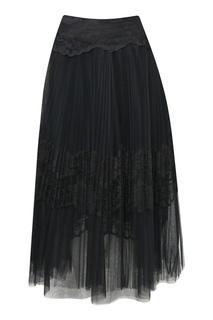 Черная юбка с плиссировкой Ermanno Scervino