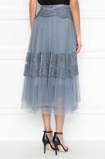 Серая плиссированная юбка с кружевом Ermanno Scervino