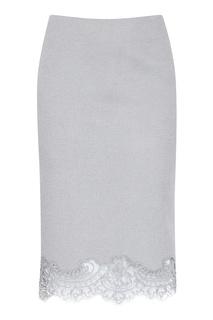 Серая юбка с кружевной отделкой Ermanno Scervino