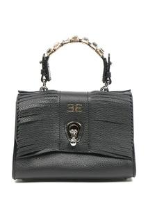 Черная кожаная сумка с отделкой Ermanno Scervino