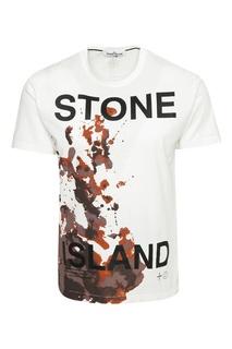Белая хлопковая футболка с принтом Stone Island